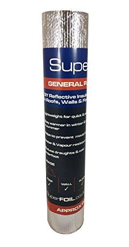 SuperFoil, foglio isolante multiuso, 1 m x 7 m, doppio strato termico da 4 mm, isolante riflettente per pareti, pavimenti, tetti, camper e roulotte, 1 rotolo di pluriball in alluminio, colore: argento