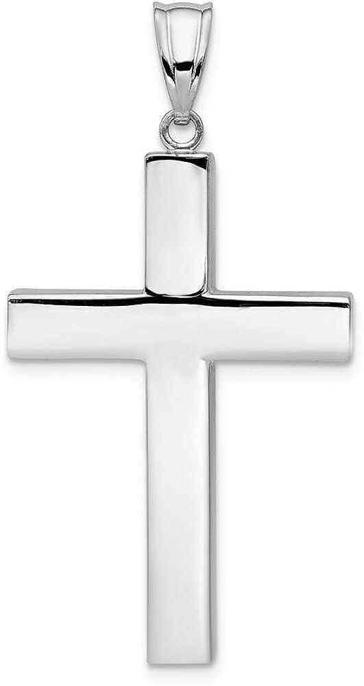 14k White Gold Cross Pendant Charm - 33mm x 21mm