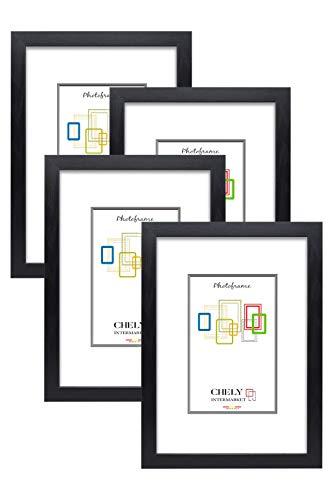 Chely Intermarket, Marco de Fotos A4 (Negro) MOD-254 (Pack de 4 uds), Hecho de Madera, Ancho de Bastidor 1,20cm con Acabado Elegante | Marco para títulos y certificados (254-A4*4-0,60)