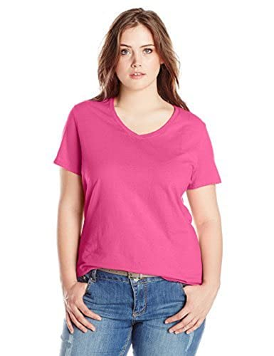 Just My Size Women's Plus-Size Short Sleeve V Neck Tee, Amaranth, 2X