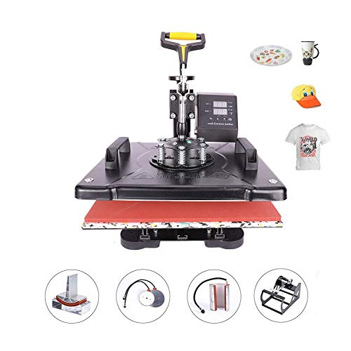 CO-Z 110V Heat Press 360 Degree Swivel Heat Press Machine Multifunction Sublimation Combo T Shirt Press Machine for Mug Hat Plate Cap Mouse Pad (12x15 inches 5 in 1 Intelligent Audible Alarm)