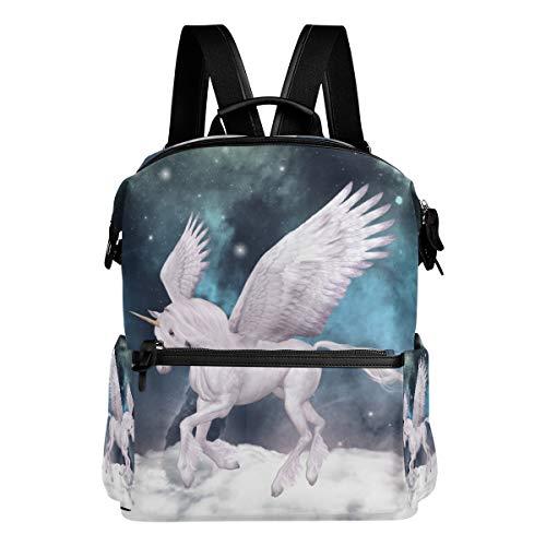 TIZORAX Fée Pegasus Blanc Licorne Sacs de Sac à Dos d'école College Sac à Dos Bookbags pour Teen garçons Filles
