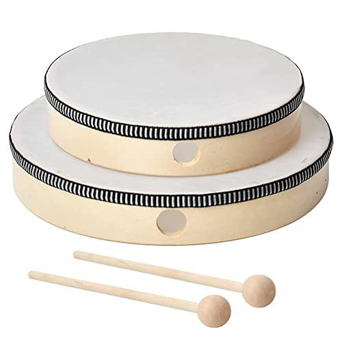 DODUOS 2er Handtrommel Trommel für Kinder, Handtrommel Holz Ø 25cm/20cm mit Schlägel, Tamburin Trommel Musical Lehrinstrument für Party Kinder Pädagogisches Spielzeug Gesangsbegleitung