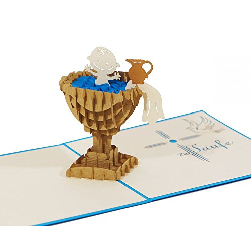 """3D KARTE\""""Zur Taufe\"""" blau I Pop-Up Karte als Gutschein, Geldgeschenk, Glückwunschkarte I Klappkarte als Taufkarte"""