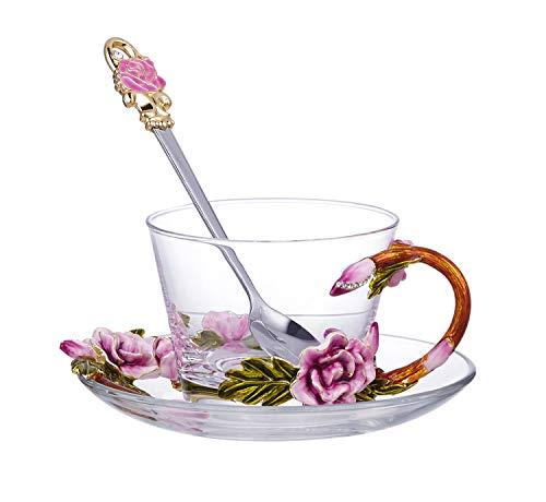 YIJIAN-CUP Hochwertige Glasbecher und Tassen Emaille Farbe anmutige Rose Blume transparent Kristallglas Tasse for Kaffeetasse Tasse Tee Wasser Tasse (mit Teller und Löffel Set) Haltbare Bechersets