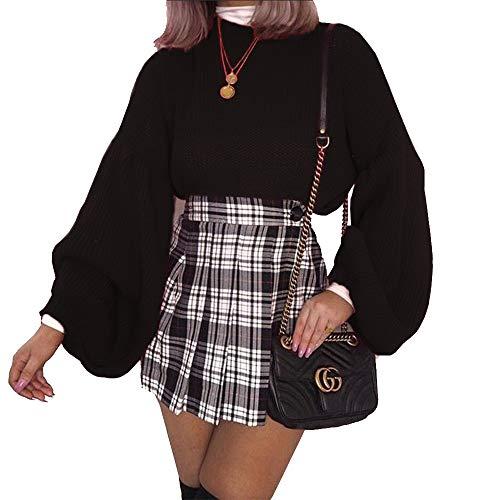PRETTYGARDEN Women's Loose Drop Shoulder Lantern Sleeve Round Neck Fashion Pullover Sweater Tops (Black, X-Large)
