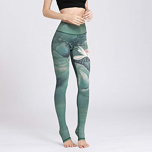 F-JX Los Pantalones de Yoga de la Mujer, Impreso Deporte, Delgado Yoga Gym Pantalones, Pantalones Fitness, para Deportes, Aptitud, Ejercicio,M