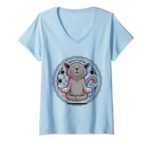 Damen Acro Vinyasa Hatha Yoga Katze Meditation Mann Frau Geschenk T-Shirt mit V-Ausschnitt