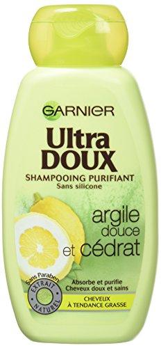 Garnier Ultra Doux Shampooing Purifiant pour Cheveux Gras Argile Douce/Cédrat 250 ml - Lot de 3