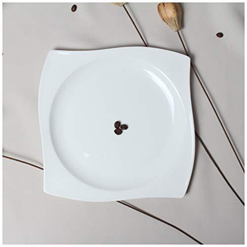 CJW Assiette en porcelaine carrée avec os occidental blanc pur - plat occidental (Taille : 27cm)