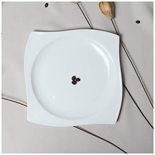 CJW Assiette en porcelaine carrée avec os occidental blanc pur - plat occidental (Taille : 27cm)