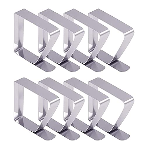 Stainless Steel Tablecloth Table Desk Cover Clips Clamp Holders 8pcs for Home Q