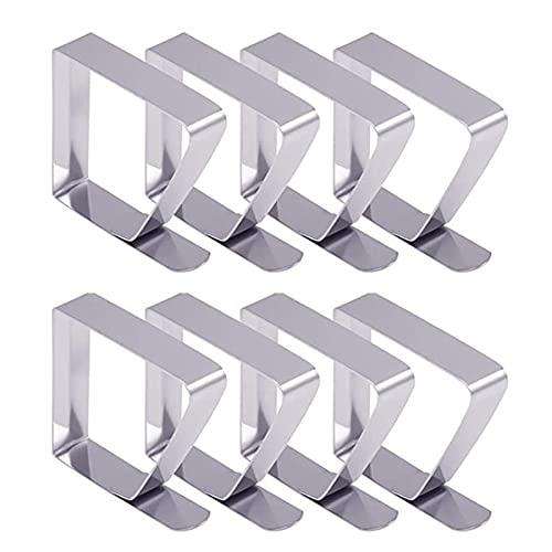 Haitee - Pinzas para mantel de mesa (acero inoxidable, 8 unidades), color plateado