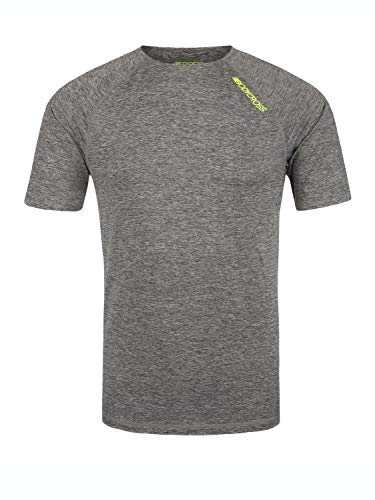BODYCROSS T-Shirt Manches Courtes Col Rond Homme Jaya Gris Chiné Training - Polyester - Coutures Thermocollées Aux Manches, Taille Et Cou, Léger, Respirant S
