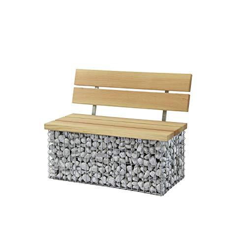 bellissa Gabionenbank CALMA - 97155 - Gabionen-Gartenbank mit Lehne - Garten-Bank mit Sitzfläche aus Douglasien-Holz - 105 x 40 x 44/83 cm