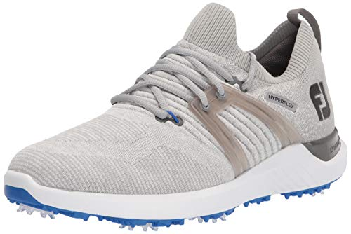 FootJoy Men's Hyperflex Golf Shoe, Grey/White/Blue, 10