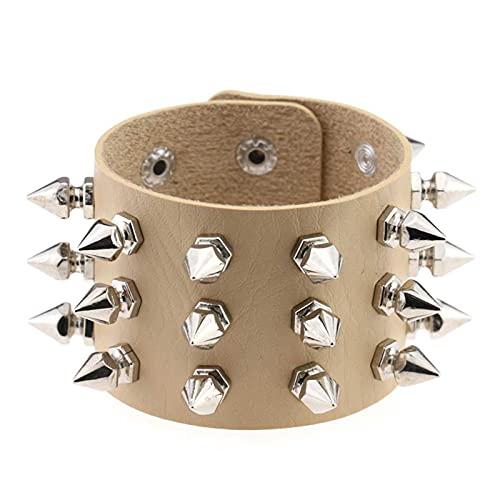 HEMOTONE Punk Gothic Cuspidal Spikes Nieten Kegelbolzen PU. Leder Armreif Armband Armband Charme Mode Rock Unisex Schmuck (Metal Color : Khaki)