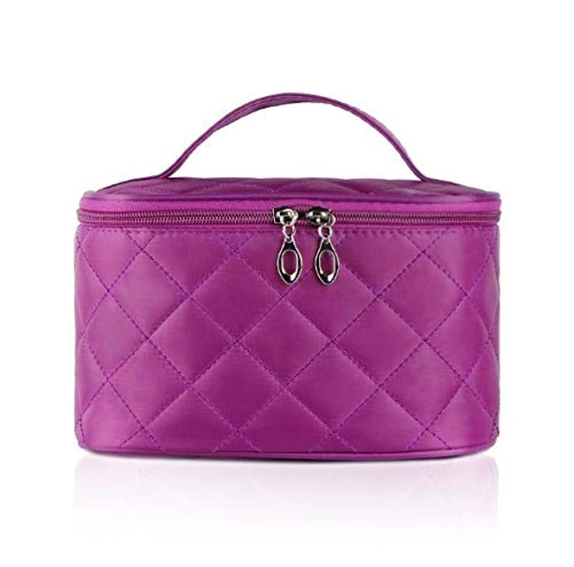 クリエイティブ体系的に国籍化粧箱、簡単な菱形の正方形の携帯用化粧品袋、携帯用携帯用旅行化粧品の箱、美の釘の宝石類の収納箱 (Color : Purple)