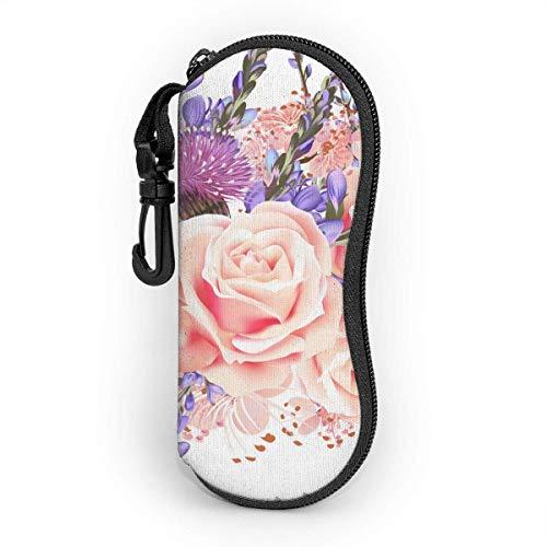 Wthesunshin Funda Gafas Patrón de papel tapiz floral transparente Neopreno Estuche Ligero con Cremallera Suave Gafas Almacenaje