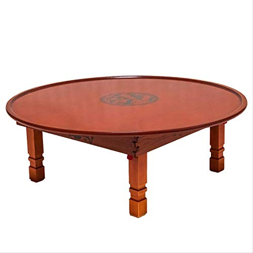 Tatami Round Folding Table Small Apartment Lazy Rice Table Korean Style Bay Window Table Home Dining Table 80cm dia