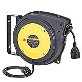 AmazonCommercial - Carrete de cable de extensión retráctil, resistente con soporte giratorio, 1,5 mm² x 15 m, color gris, amarillo y negro