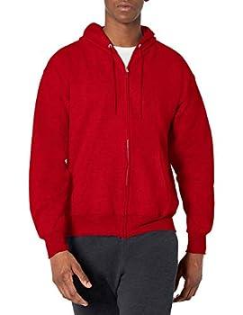 Hanes Men s Full Zip Ultimate Heavyweight Hoodie Deep Red Medium