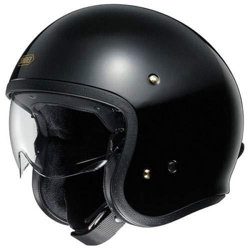 Shoei J.O. Casco Jet Motocicleta Bicicleta Cascos Abiertos de Moto Negro Brillante...