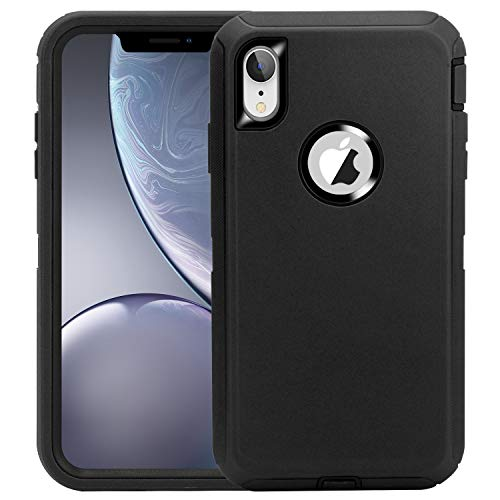 CAFEWICH for iPhone XR Case, Heavy Duty Shockproof 3-in-1 Design, Defender Rugged Rubber Non-Slip TPU Bumper Protective Cover for iPhone XR 6.1'' (2018) - Black