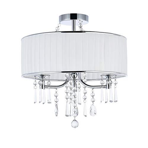 A1A9 Moderne 3-Licht Trommel Pendelleuchte, 42cm weißer Stoffschirm, halb bündig montierte Deckenleuchten mit Kristall, Kronleuchter in Chromoptik für Wohnzimmer, Esszimmer, Schlafzimmer