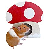 Ymid Select Handmade Mushroom Design Hamster Birch Chamber Hideout Tunnel Exploring Toys House for Dwarf Hamsters Gerbils Small Animal Hideout Hut Cave