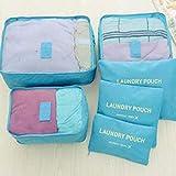 Greatangle - Juego de 6 bolsas de almacenamiento de viaje para organizar la ropa, el armario, la maleta, el organizador de viaje, la bolsa de embalaje, el cubo de la bolsa de embalaje, el color azul
