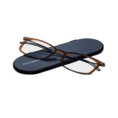 ThinOptics Milano Aluminum Frontpage Brooklyn Rectangular Reading Glasses, Brown Frames/Silver Case, 1.5 x