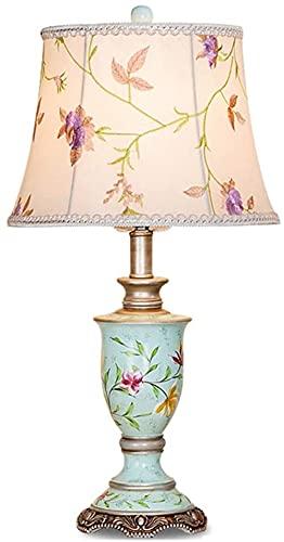 DZCGTP Luz para dormitorios Lámpara de Mesa Americana Lámpara de Noche para Dormitorio Estudio mediterráneo Lámpara de Mesa de Lectura clásica Pintada a Mano Creativa
