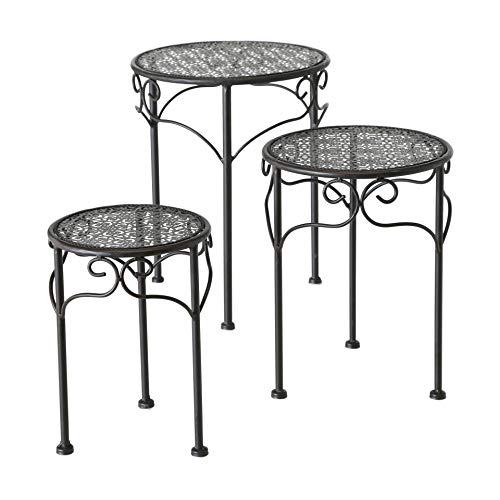 CasaJame Juego de 3 mesas auxiliares redondas de metal, color marrón oscuro