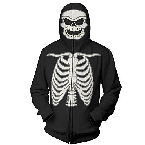 Full Zip Up Glow in the Dark Costume Hoodie Skeleton Sweatshirt (Large, Black)