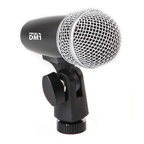 Proel EIKON DM1 - Nuovo Microfono dinamico professionale per percussioni + supporto microfono, Capsula Silver, Nero