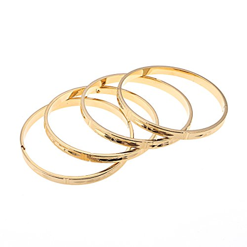 18K vergoldete Armreifen Armbänder Dubai Gold Armband Jewelry Äthiopische Schmuck Frauen Hochzeit Geschenk