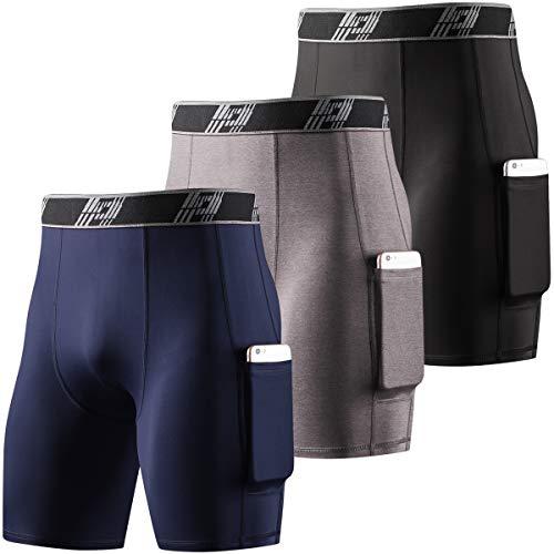 HOPLYNN Herren Lange Kompressions-Shorts Cool Dry Sport Tights Sport Unterhose Running Base Layer Shorts mit Handytaschen Gr. XL, 3er-Pack schwarz/grau/blau