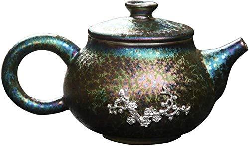 Tetera Tetera de cerámica Tetera de esmalte Tetera de cerámica Colorido Tianmu Glaseado Ciruela de plata Tetera de cerámica con adornos de plata Xi Shi Pot