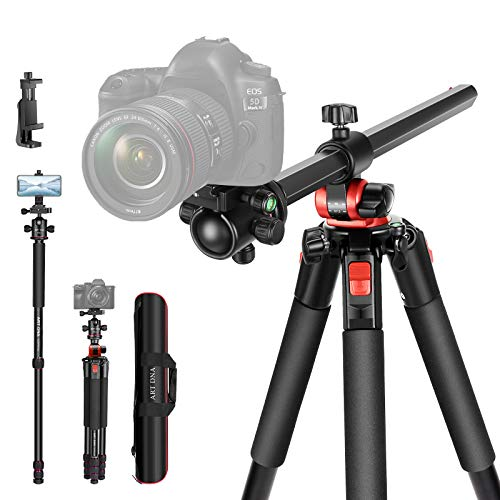 ART DNA 72.4 inches/184 cm Photography Tripod with Extended Arm and Rotatable Center Column, 360-Degree Ball Head QR Plate, Portable Light-Weight, 4 Sections Legs Tripod with Clip for Phone and Camera