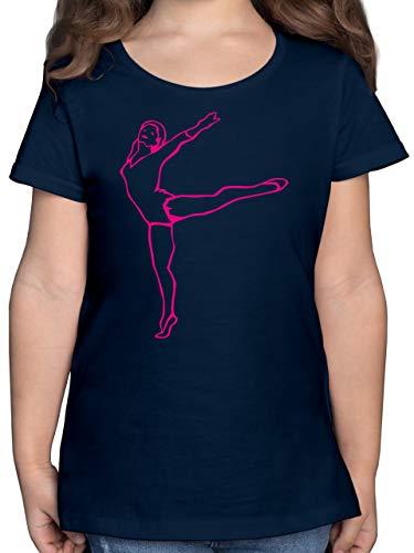 Sport Kind - Rhythmische Sportgymnastik - 152 (12/13 Jahre) - Dunkelblau - Silhouette - F131K - Mädchen Kinder T-Shirt