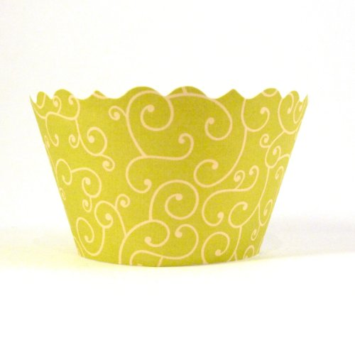 Bella Couture Olivia Swirl Cupcake Wrappers, Chartreuse/Yellow