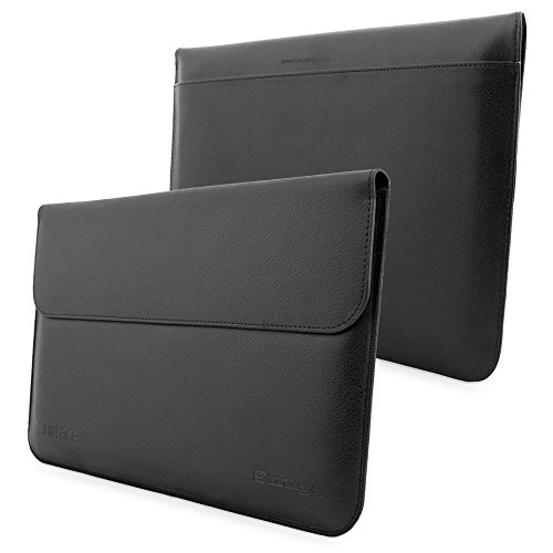 Surface 3 Sleeve, Snugg - Black Leather Sleeve Case Protective Cover for Surface 3
