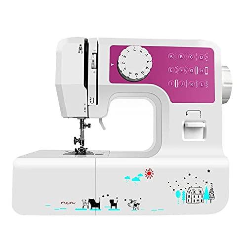Vobajf Máquina de coser 12 puntadas eléctrica multifunción portátil máquina de coser con luz LED (color morado, tamaño: talla única)