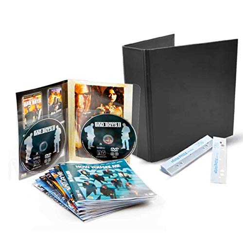 TARIFOLD DVD Bundle - 50 Double DVD Storage Sleeves, 2 DVD Binders, and 50 DVD Adhesive Strips (10266)