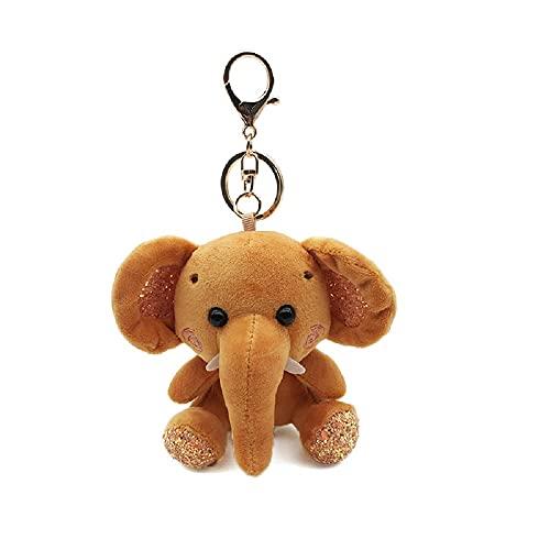 Aidou Llaveros de elefante, felpa mullida, llavero de elefante de dibujos animados, colgante de peluche suave, bolsos, adorno para mujer, coche, bolso, Brown, 10 cm, Moda