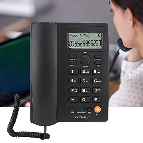Wosune Teléfono residencial, teléfono Claro Conveniente para la Oficina para el hogar para el Hotel para teléfono Fijo(Black)