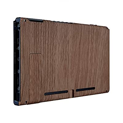 eXtremeRate Soft Touch Grip Wood Grain Console Back Plate DIY Replacement Housing Shell Case for Nintendo Switch Console with Kickstand – JoyCon Shell NOT Included