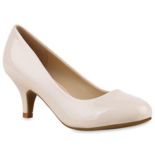Klassische Damen Pumps Kitten Heels Lack Peeptoes Strass Glitzer Abend Braut Transparent Stilettos Schuhe 133437 Creme 38 Flandell