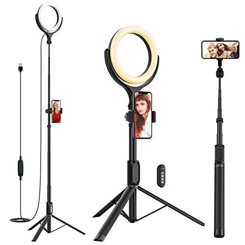 Yoozon Anillo de luz LED con Trípode Ajustable de Palo Selfie 3 en 1 para teléfonos/cámara pequeña, 3 Colores 10 Brillos y Soporte Móvil Giratorio para Youtube,Selfies,transmisión en Vivo,TikTok etc